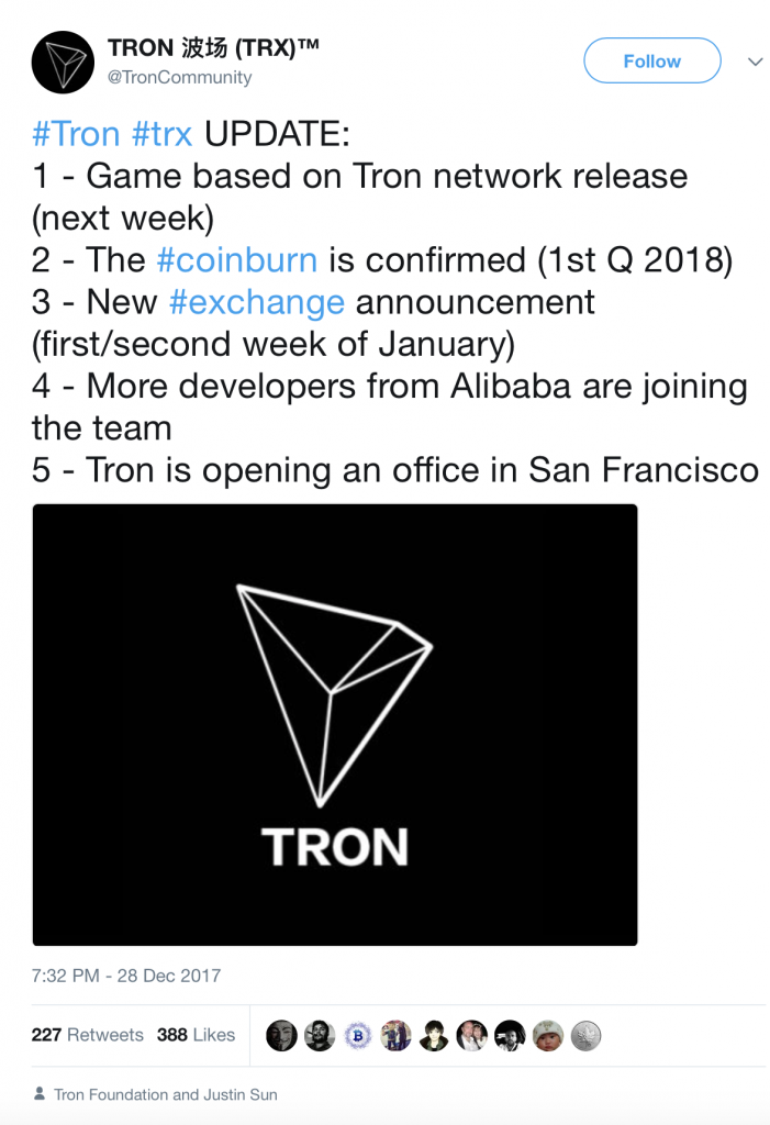 Tron TRX Tron Foundation and Tron SF office